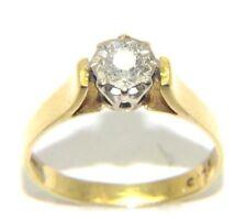 Mujer 18 Quilates Oro Compromiso Anillo con un diamante, Talla RU M