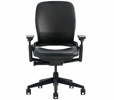 Steelcase Leap Desk Chair Black Leather Adjustable + Black Frame - BRAND NEW