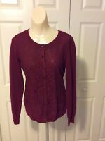 Banana Republic Women's Garnet Red Lace Front Cardigan Sweater Size Medium