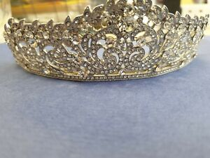 Wedding tiara crown bridal silver vintage style 1920s style. 607