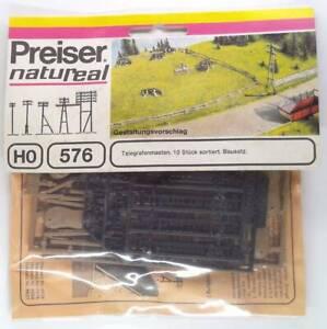 Preiser 576 - Bausatz 10 Telegrafenmasten - Maßstab H0 1/87, neu in OVP