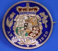 More details for 1820 george iii half crown enamel brooch/badge, hallmark 1882, eu [22915]