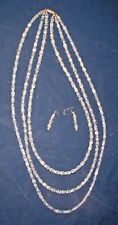 Silver Beads Necklace Earring Set Unique Handcrafted 3 Strand Blue/Grey Stone