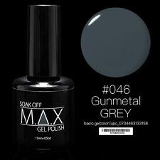MAX 15ml Soak Off Gel Polish Nail Art UV LED Color #046 - Gunmetal Grey