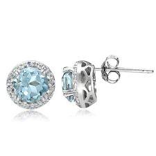 Sterling Silver 3.1ct Blue Topaz & White Topaz Halo Stud Earrings