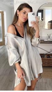 TOPSHOP Ivory Liquid Satin Oversized Shirt Sizes UK 6_8_10_12_14_16