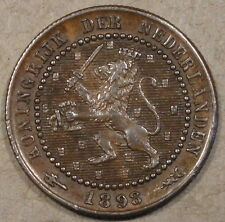 Netherlands 1898 Cent Glossy Brown AU