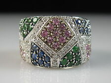 14K Blue Sapphire Pink Green Tsavorite Diamond Ring Wide Band 13gr Size 7 $4200