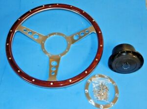 "New 14"" Laminated Dark Wood Steering Wheel & Hub Adaptor Sunbeam Alpine Tiger"
