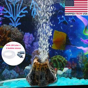 Aquarium Fish Tank Volcano Shape Bubbler Ornament Bubble Air Stone Prop Decors