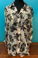 Women's Sheer Snap Front Floral Design Blouse - XL, Beige & Black, EUC