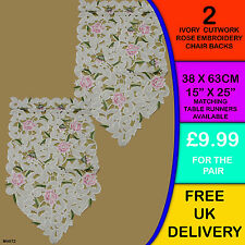 2 New Ivory Cutwork Rose Embroidered Chair Backs Covers Antimacassar M4072