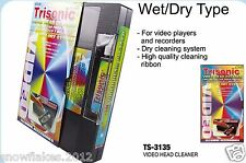 Head Cleaning video tape cassette for VHS VCR player and recorder wet and dry
