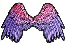 "(L07) Large PINK & PURPLE ANGEL WINGS 11"" x 7"" iron on back patch (3010)"