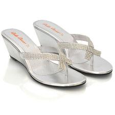 Womens Wedge Heel Flip Flops Sandals Diamante Sparkly Ladies Toe Post Shoes 3-9 Silver Metallic UK 7 / EU 40 / US 9