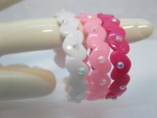 72Pcs Pink Girl Open Ended Bangle Bracelet W/Rhinestone