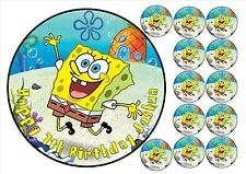 Spongebob square pants round icing personalised topper + 12 cupcake toppers
