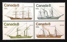 Canada #670-673a MNH, Coastal Vessels Block of Stamps 1975