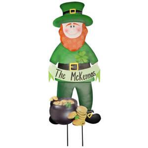 St. Patrick's Day Personalized Leprechaun Metal Garden Stake