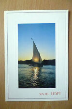 Postcard- SUN SET- EGYPT, BOATS ON NIL RIVER (16.5x11.5 cm)