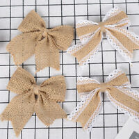 10Pcs Burlap Bowknot Bow Rustic Wedding Party Hat Clothes Gift Craft Decor  high