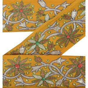 Sanskriti Vintage Sari Border Indian Craft Yellow Trim Hand Beaded Sewing Lace