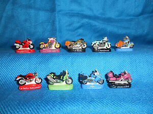 Minature Porcelain MOTORCYCLES Set 9 Mini Figurines FRENCH FEVES Colors CYCLES