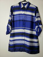 Chico's Women's Button Front Blouse Top Size 0 or 4 Blue White Black Striped