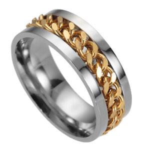 8mm Mens Stainless Steel Spinner Chain Rings Fidget Ring Wedding Band Size 6-12