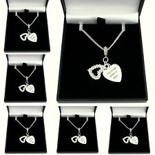 Personalised Necklace with Engraving, Two Heart Pendants & Crystals, Gift Boxed