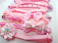 x11 Cat Collar Baby Pink Small Pet Adjustable Puppy Snap Buckle Bow Bell Necktie