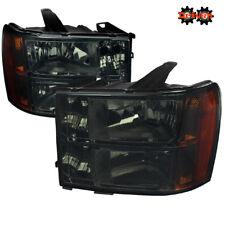 07-13 GMC Sierra Truck Smoked Tinted Headlights w/Amber Reflector Crew Single