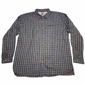 North Face Mens XL Long Sleeve Button Front Plaid Shirt Zip Pocket Rayon Blend