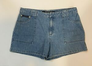 DKNY Jeans Size 12 Ladies Blue Denim Shorts 100% Cotton Zipper Front 3 Pockets