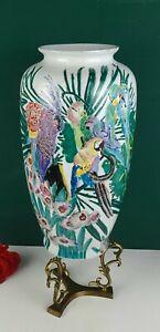 """Parrot Vase"" by Furniture Showroom - Multicolor Parrots, Florals"