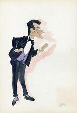 """Robert LAMOUREUX"" Caricature originale de J. GEN (Dessin au crayon aquarellé)"
