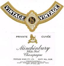 Unused 1940 AUSTRALIA Rooty Hill Penfolds Minchinbury White Seal Champagne Label