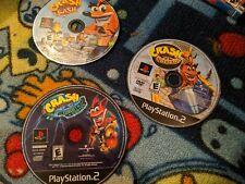3 crash bandicoot games, crash bash, nitro kart, wrath of cortex.Games are in