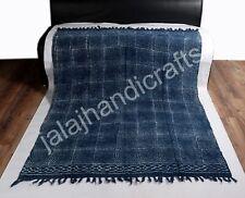 100% Cotton Sofa Bed Soft Throw Home Décor Bedding Indigo Print Woven Blanket