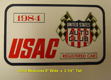 1984 Indianapolis Motor Speedway USAC Registered Decal / Vintage Racing Indy 500