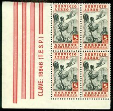 EDW1949SELL : MEXICO 1934 Scott #C73 Beautiful Corner Number Block of 4. VeF MNH
