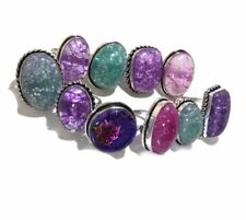 Bulk Lot !! 50 PCs. DICHROIC GLASS 925 Sterling Silver Plated Ring Jewelry