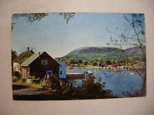 VINTAGE POSTCARD WINDJAMMERS & BOATS IN A HARBOR ON THE MAINE COAST 1960