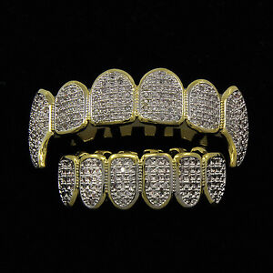 14K GOLD & SILVER Plated High Quality CZ Fang Top & Bottom GRILLZ Mouth Teeth