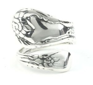 Sterling Silver Spoon Ring, Vintage Spoon Ring, Wrapped Spoon Ring, Antique