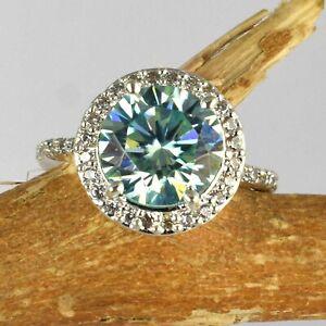 Round 5.59 Ct Blue Diamond Solitaire Unique Halo Design Ring-Very Elegant Style