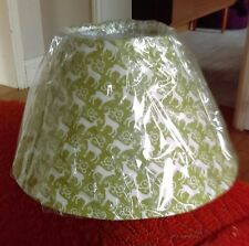 Green & white deer print lampshade new in plastic scandi