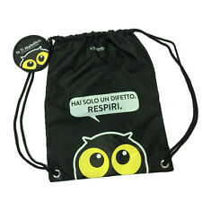 YO TI MALEDICO Bolsa mochila con cordón de tela negro+portaspicci rotondo43X33,