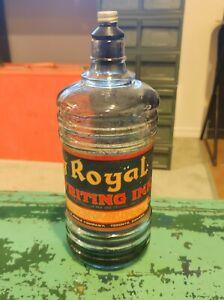 Vintage Royal Writing Ink J.E. Poole Company Toronto Fountain Pen Lg Bottle RARE