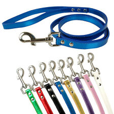 "5/8"" Wide Bling Metallic PU Leather Cat Dog Leash Leads 8 Colors 48"" Long"